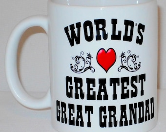 World's Greatest Great Grandad Mug Can Be Personalised Worlds Grandfather Grandparent Gift