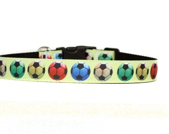 1 Inch Wide Dog Collar with Adjustable Buckle or Martingale in Soccer