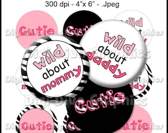 Cute and Wild Sayings Bottle Cap Images 1 Inch Circles Digital JPG - Instant Download - BC1033