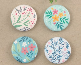 "Floral Fridge Magnets, 1.25"" Fridge Magnets, Floral Gift, Nature Fridge Magnets, Floral Print, Home Accessory, Office Magnets, Set of 4"