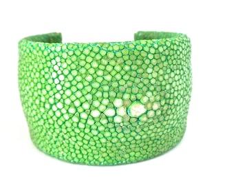 sale Leather cuff bracelet beaded green shagreen