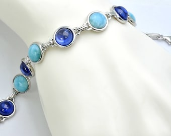 Larimar And Tanzanite, Most Beautiful Combination Bracelet .925 Sterling Silver