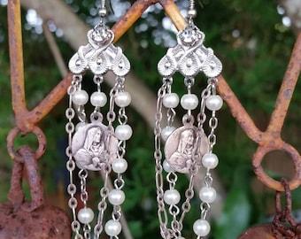 Upcycled Vintage Pearls Assemblage Wedding Earrings,OOAK,Statement,Repurposed,Bride