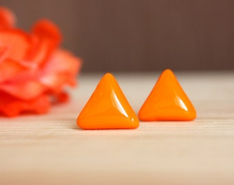 Orange stud earrings Orange studs Orange earrings Orange post earrings Glossy earrings Resin stud earrings Gift under 20 Small studs