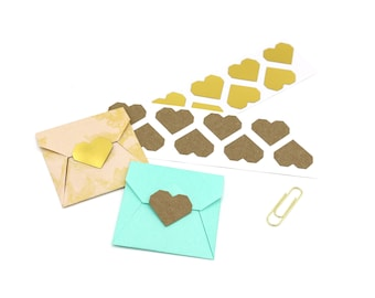 36 Gold Heart Stickers - Geometric Hearts - Gold Foil or Kraft Brown