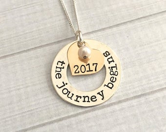 Graduation Jewelry, The Journey Begins Necklace, 2018 Graduation Necklace, Graduation Gift, Class of 2018