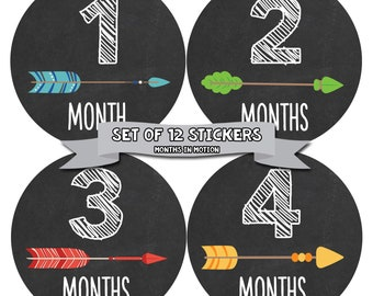 Monthly Baby Stickers Baby Month Stickers Baby Girl Monthly Stickers Monthly Baby Sticker Neutral Baby Shower Photo Prop Milestone 1107