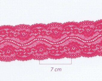 Pink lace by the yard, width 7 cm