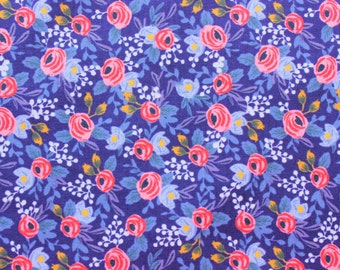 Cotton and Steel Fabric, Rifle Paper Co., Les Fleurs, Rosa, Periwinkle, RJR, Floral Fabric, Cotton, Navy Blue, Half Metre