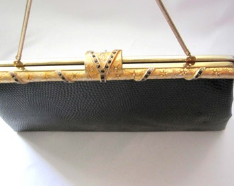 Vintage After Five L&M Purse, 1950s Black Faux Snakeskin with Satin Coin Purse, MINT Jeweled Clasp and Frame, Evening Bag, Hollywood Regency