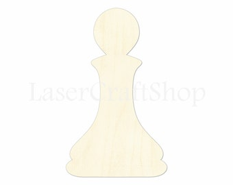 """2"""" - 34"""" Pawn Wooden Cutout Shape, Silhouette, Gift Tags Ornaments Laser Cut Birch Wood  Chess Figures #1202"""