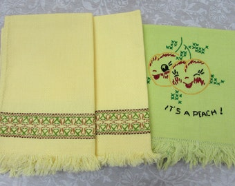 """Huck Weave Tea Towel Pair & Embroidered linen """"Its a Peach"""" towel"""