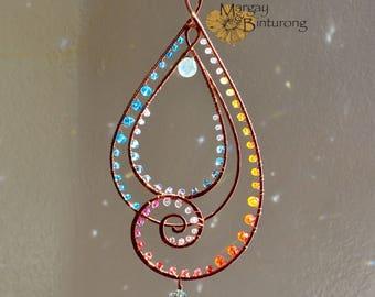 Super sparkly Paisley-esque Suncatcher, gemstone Swarovski Crystal hanging wire art window patio decor garden decoration, swirl paisley