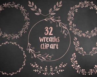 Rose gold wreaths clipart, floral, design elements, hand drawn overlay, wedding clipart, rose leaves, laurel, download