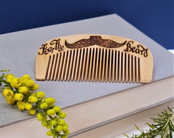 Personalised Beard Comb, Wooden Beard Comb, Moustache Comb, Gifts for Him, Father's Day Gift, Valentines Gift,  Birthday Gift Ideas