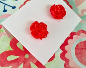 Red Rose Earrings - Sparkling Blooms - beach jewelry - SALE - perfect gift - Summer - bridesmaids - weddings - sale