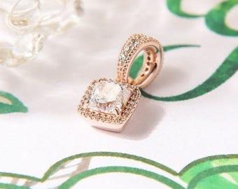 Timeless Elegance Rose Gold Charm Pendant, Rose Gold ™  & Clear CZ, Dangle Fits to all Pandora Charm Bracelets, DIY Jewelry