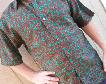 Men's Handmade Woven Cotton Short Sleeve Button Down Pocket Shirt - Emerald Vines on Chocolate Brown -Size L - Lucas G739