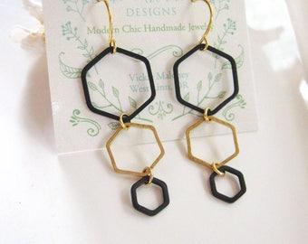 Hexagon Earrings, Brass, Geometric Earrings, Black Hexagon, Earring Necklace Set, Modern, Long Earrings, Redpeonycreations
