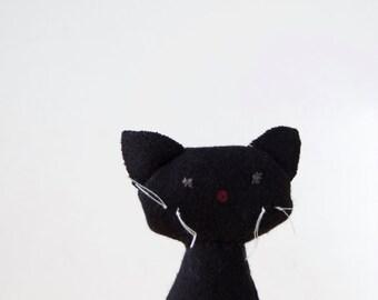 Small stuffed Cat, black, wool, un rossignol sur un fil, Le Chat noir, pet for soft handmade art rag doll, mini stuffed animal