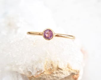 Sapphire Ring, Sapphire Bezel Ring, Rose Cut Sapphire - Conflict Free, Stacking Ring, Tiny Ring, Stackable Rings, September Birthstone