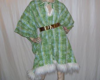Christmas Snowflake Dashiki Fur Caftan White Green Dress Angel Resort Tinsel Furry Hippie Holiday Dress Ugly Sweater Party Adult ML XL