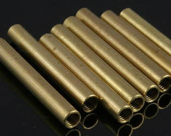 Raw Brass Tube 10 Pcs  40x5 mm (hole M4 Thread ) industrial brass Charms,Pendant,Findings spacer bead