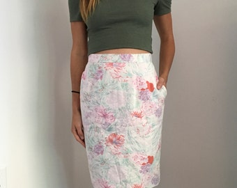Vintage Floral High Waist Lined Skirt // Size XS 23
