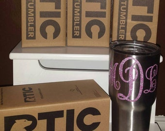 Silver 30 oz RTIC Stainless Steel Tumbler with Monogram