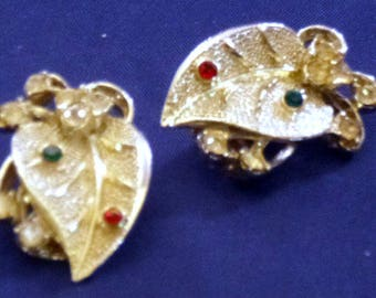 Vintage Silver Tone Leaf Clip On Earrings with Clear, Red, & Green Rhinestones, 1980s