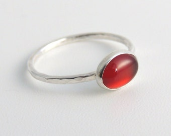 Oval Carnelian Ring Sterling Silver Stacking Ring Fire Orange Stone Ring