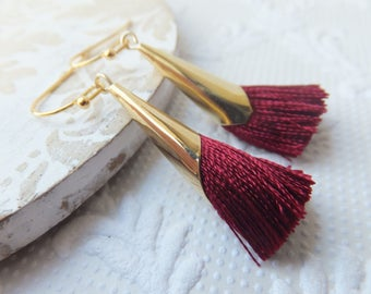 Wine Red and Gold Tassel Earrings - on nickel free gold plated ball end french earring hooks