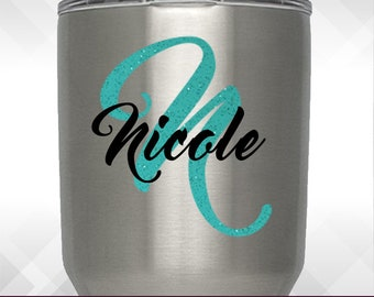 Glitter Initial Name Decal - Personalize Name Customize for Yeti Decal Only