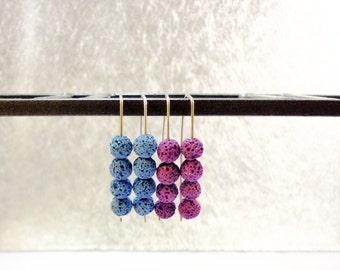 Lava Stone Sterling Silver 925 Earrings-Blue-Purple