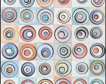 Perceptual Study: Circle Game #1 (of 4) by Amy Ione. Original Painting. Acrylic, Graphite, ink on Canvas Board. Unframed. Signed. (27740)