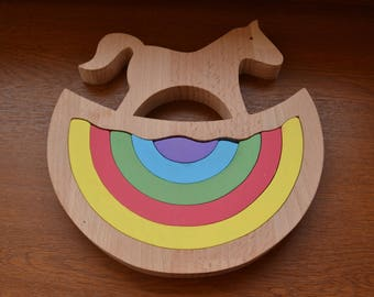 Stacking toy - Wooden nesting toy - Animal toy - Wooden puzzle rainbow - Rocking horse - Montessori toy - Waldorf toy - Rainbow stacker