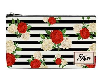 Floral Print Cosmetic Bag, Bridesmaid Gift, Make Up Bag, Cosmetic Bag, Custom Cosmetic make up, Bridesmaid Bag