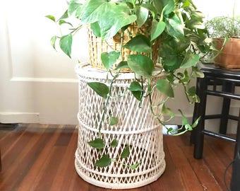 Vintage Woven Rattan Plant Stand • Bamboo Side Table  • Boho Decor
