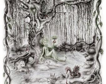 The Green Man - Willow trees and sprites and dragons - A4 print - Unique illustration