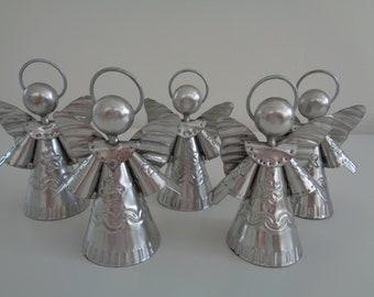 Angel Tin Ornaments  - Set of 5 / Christmas Ornaments / Holiday Ornaments / Angel Ornaments / Silver Ornaments