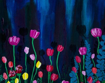 Original Acrylic Painting, acrylics on paper, original art, flowers, abstract, ArtWork by AliiArtColors, 297x210mm