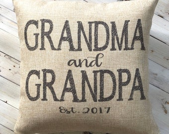 New Grandparents Gift - Farmhouse Pillow -New Grandma - Burlap Pillow - Rustic Country Decor - New Grandpa  - Personalized - Gift Under 25