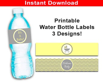 Carriage Printable Water Bottle Label Wrappers, Its A Baby Carriage Baby Buggy Favor Labels, Gender Neutral Baby Shower Yellow and Gray