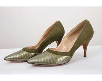 Vintage stiletto heels / 1960s Olive green pointed toe spike heels 6