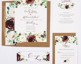 Burgundy Greenery Wedding Invitations - Burgundy & Blush - Wedding Invitations - Burgundy Blooms Collection Deposit