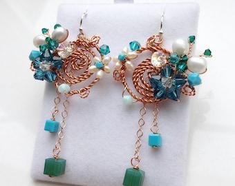 Blue chandelier earrings - blue pearl earrings - blue butterfly earrings - turquoise earrings - blue crystal earrings