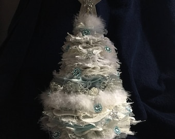 "Shabby chic christmas tree about 16 "" high"