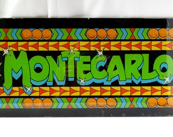 Glass Montecarlo arcade game marquee sign / video game machine / vintage playroom / 1970's 1980 / flipper / player decor