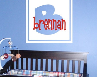 Double Block Monogram with Name Vinyl Wall Decal (K-024)