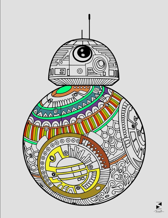 star wars coloring page bb8 coloring page printable coloring printable gifts star wars gifts star wars printables zentangle coloring - Bb 8 Coloring Page